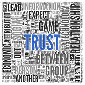 Text cloud background depicting - Trust - centered in blue surrounded by associated words such as relationship, social, rely, trustworthy, perception in a dense text cloud of different sizes, square