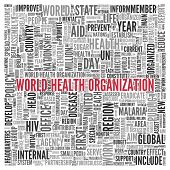 Close up Red WORLD HEALTH ORGANIZATION Text at the Center of Word Tag Cloud on White Background.