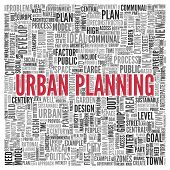 Close up Red URBAN PLANNING Text at the Center of Word Tag Cloud on White Background.