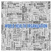 Close up Blue WORLD HEALTH ORGANIZATION Text at the Center of Word Tag Cloud on White Background.