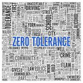 picture of criminology  - Simple Blue Zero Tolerance Texts and Related Words in Word Tag Cloud Design on White Background - JPG