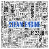 Close up Blue STEAM ENGINE Text at the Center of Word Tag Cloud on White Background.
