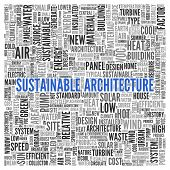 Close up Blue SUSTAINABLE ARCHITECTURE Text at the Center of Word Tag Cloud on White Background.