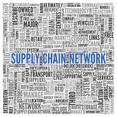 Close up Blue SUPPLY CHAIN NETWORK Text at the Center of Word Tag Cloud on White Background.