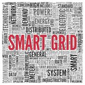 Close up Red SMART GRID Text at the Center of Word Tag Cloud on White Background.
