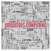 Close up Red UBIQUITOUS COMPUTING Text at the Center of Word Tag Cloud on White Background.