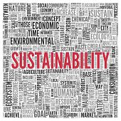 Close up Red SUSTAINABILITY Text at the Center of Word Tag Cloud on White Background.