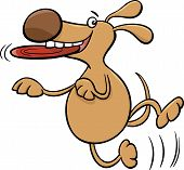 picture of frisbee  - Cartoon Illustration of Funny Dog Character with Frisbee - JPG