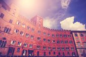 Vintage Filtered Picture Of Piazza Del Campo In Siena, Italy.