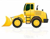 Bulldozer For Road Works Vector Illustration