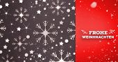 Snow falling against snowflake wallpaper pattern