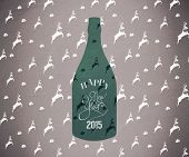 New year bottle against green reindeer pattern