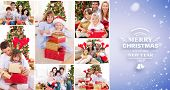 Collage of families celebrating Christmas together at home against purple vignette