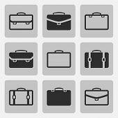 Vector briefcase black icons set