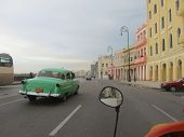 Vintage car on the Havana Malecon