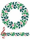 Christmas Music Wreath and Seamless Border