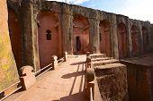 Unique monolithic rock-hewn church Lalibela Ethiopia. UNESCO World Heritage site.