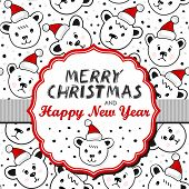 Polar bears in Santa Claus hats on white card with frame and ribbon with Christmas wishes