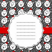 Polar bears in Santa Claus hats Christmas seamless pattern on darh frame and ribbonk wit