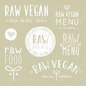 Old textured raw vegan badges.