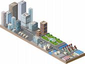 stock photo of isometric  - Vector isometric city center on the map with lots of buildings skyscrapers factories and parks - JPG