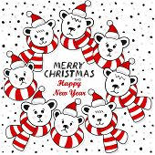 Polar bears wreath winter holidays card with Christmas and New Year greetings on white