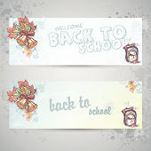 Set with two horizontal banners with a school backpack and autumn leaves