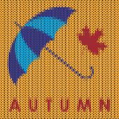 Knitted Autumn Background With  Maple Leaf
