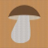 Knitted Cartoon Mushroom Vector Background