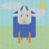 Knitted Funny Cartoon Blue Sheep In The Field