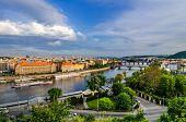 Vltava river and bridges in Prague at sunset