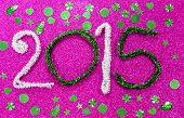 New Year Figures On Fuchsia Base