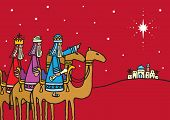 image of three kings  - A hand drawn vector illustration of the three wise men following a star - JPG