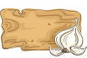 Ready to Print Illustration Featuring a Wooden Board with Garlic on the Side