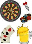 Illustration Featuring Different Items Typically Associated with Pubs