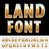 3d golden alphabet with landscape reflection