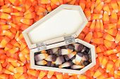 picture of coffin  - candy corn with coffin toy for Halloween decoration - JPG