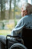 picture of geriatric  - Sad disabled man looking from the window - JPG
