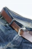 Old Denim With Leather Belt, Isolated