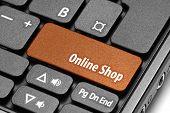 Online Shop. Orange Hot Key On Computer Keyboard