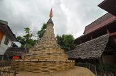 Buddhist Stupa Made Of Bamboo - Temple In Thailand