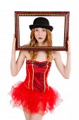 Pretty fairy with picture frame isolated on white
