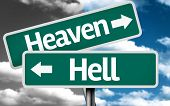 Heaven x Hell creative sign with clouds as the background