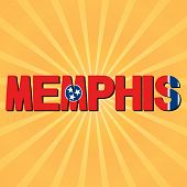 Memphis flag text with sunburst illustration