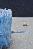 Excursion on the tourist boat.  Colossal Perito Moreno glacier in Lake Argentino. Los Glaciares National Park in Argentina