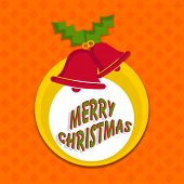 Beautiful poster with stylish text of Merry Christmas and red jingle bells on seamless floral pattern orange background.