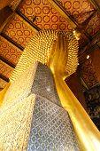 Reclining Buddha Gold Statue ,wat Pho, Bangkok, Thailand.