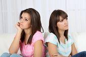 Beautiful girls twins quarreled