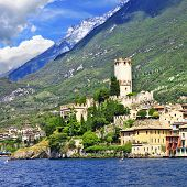beautiful lago di Garda, north of Italy. view with castle in Malcesine