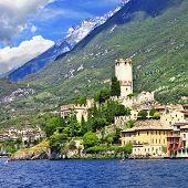 beautiful lago di Garda, north of Italy. view with castle in Malcesine